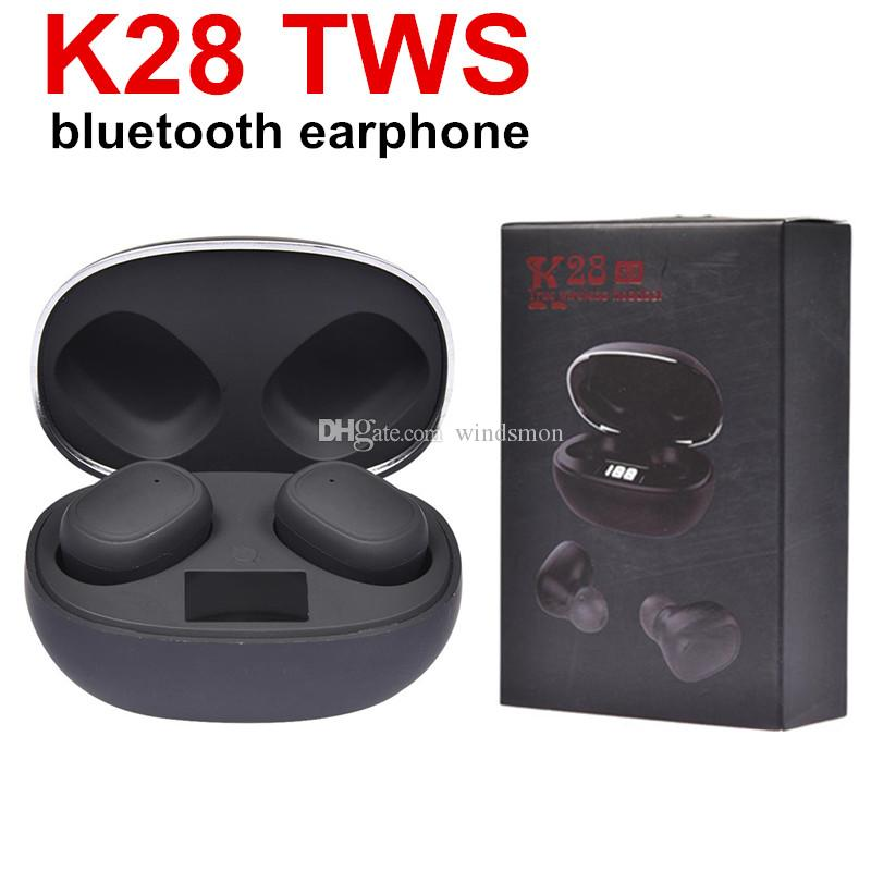 K28 TWS Wireless Earphone Bluetooth V5.0+EDR Stereo Surround Headset Smart Touch Dual In-ear Digital Display Earbuds With Mic Headphones