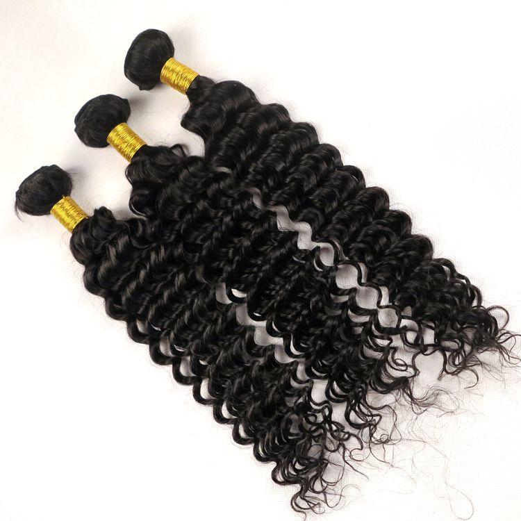 Cheveux indiens de Vierge Tissages humaine Bundles cheveux crépus bouclés 8 -34inch tissage brésilien péruviens mongol non transformés Extensions cheveux Wholesal