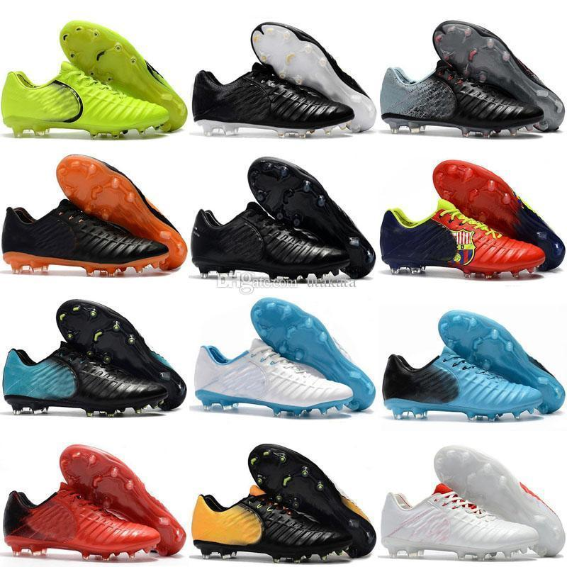 Mens Cheap Low Ankle Football Boots Tiempo Legend VII FG Soccer Shoes Tiempo Totti X Roma Legend VII Outdoor TPU Soccer Cleats