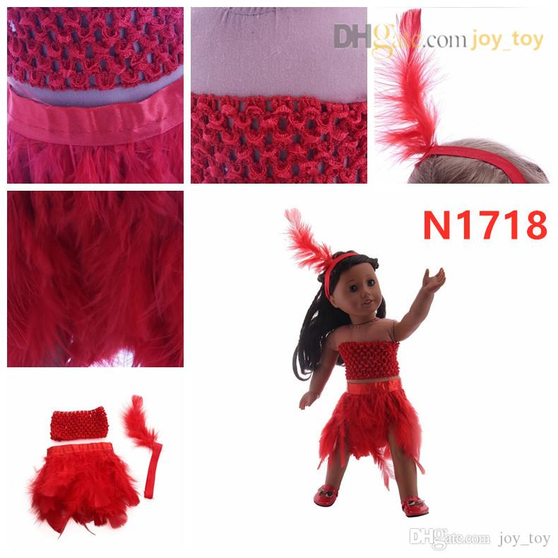 Summer Feathers Dress Skirt Fancy Dress Plume Skirt Handmade Cloth with feather hair wrap for 18 inch American girl doll cloth and accessory