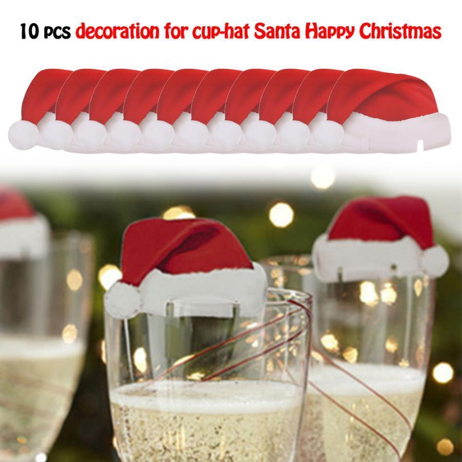 10 Pcs Mini Christmas Santa Hat Wine Glass Table Place Card Carnival Festival Decor Christmas Hats