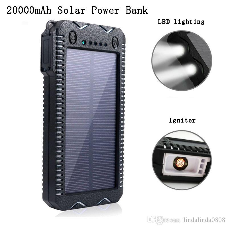 Hot-selling 20000mAh Solar Power Bank Proof D 'dust-proof Water Dual USB Dual Output LED Flashlight Lighter with Lithium Battery
