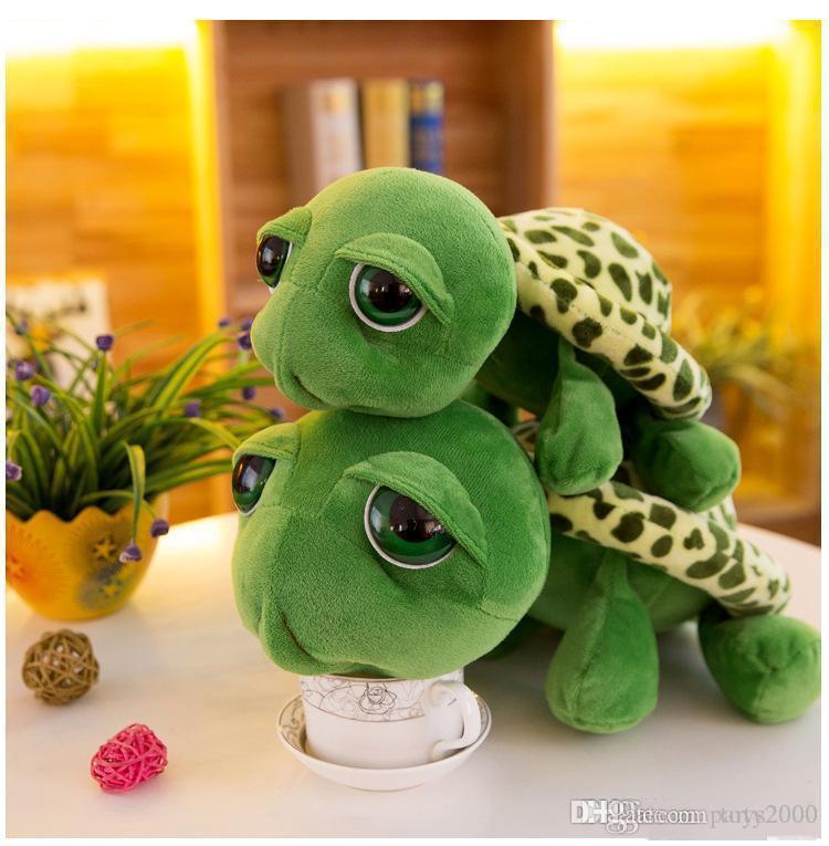 Bonito grandes olhos boneca tartaruga tartaruga de pelúcia brinquedo criativo desenhos animados da tartaruga estatueta de animação bichos de brinquedo por atacado de presente de Natal