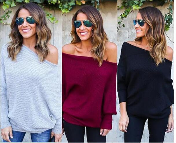 2020 printemps et en automne commerce extérieur nouveau manche européen et américain de style sexy un mot chauve-souris col tricot femme