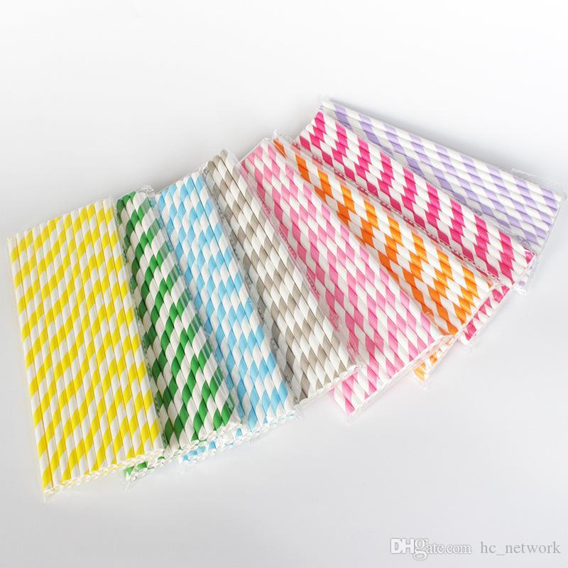 25 قطع ورقة قابلة للتحلل القش ألوان مختلفة rainbow الشريط ورقة القش الشرب القش ورقة السائبة للعصائر الملونة الشرب القش