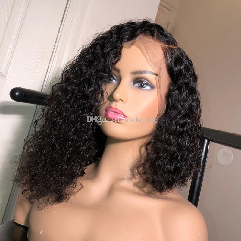 Brasileira Pré arrancada Curto Bob completa encaracolado humano laço perucas de cabelo com bebê cabelos peruca dianteira do laço da Mulher Negra