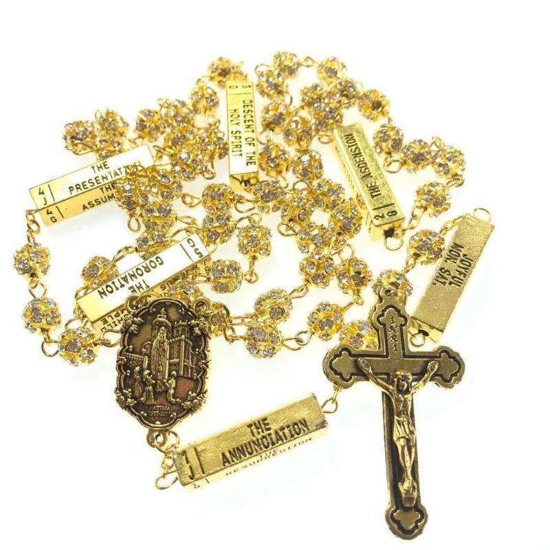 blingbling 8mm golden color crystal rhinestone beads five mysteries rosary religious catholic rosario