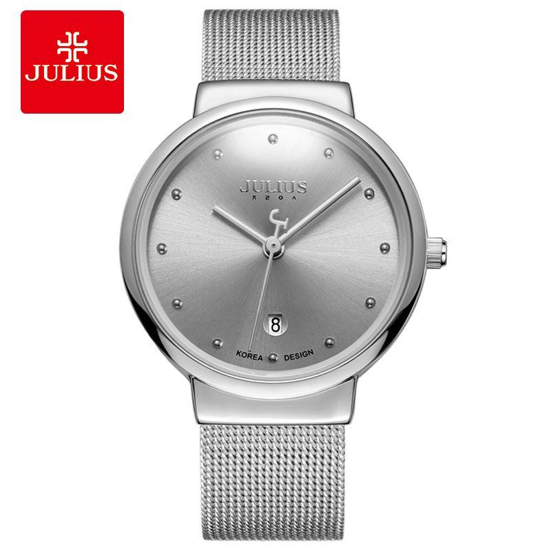 Aço JULIUS JA-426 Men Prata Preto Brown malha inoxidável Quartz Analog Diamante Dial Relógios Moda impermeáveis Casual