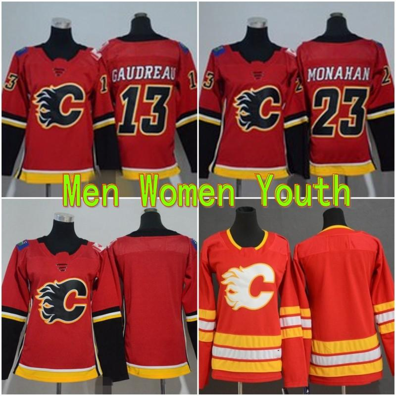 Calgary Youth Flames Hockey Maillots 13 Johnny Mark Giordano 5 Gaudreau 23 Sean Monahan Accueil Rouge Enfants Femmes Hommes Chemises Stitched