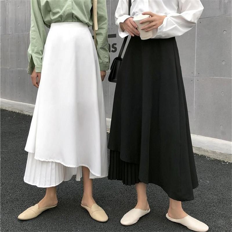 Katı Siyah Orta Buzağı Kadınlar Etek Vintage İlkbahar Yaz düzensiz Etek Uzun Ofis Lady Yüksek Bel Kız Pileli Femininas