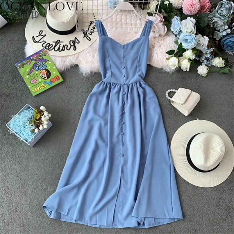 Solid A Line 2020 Summer Dress Women Bohemian Vintage Button Long Dresses Pleated Stretch Slim Lady Vestidos 12153