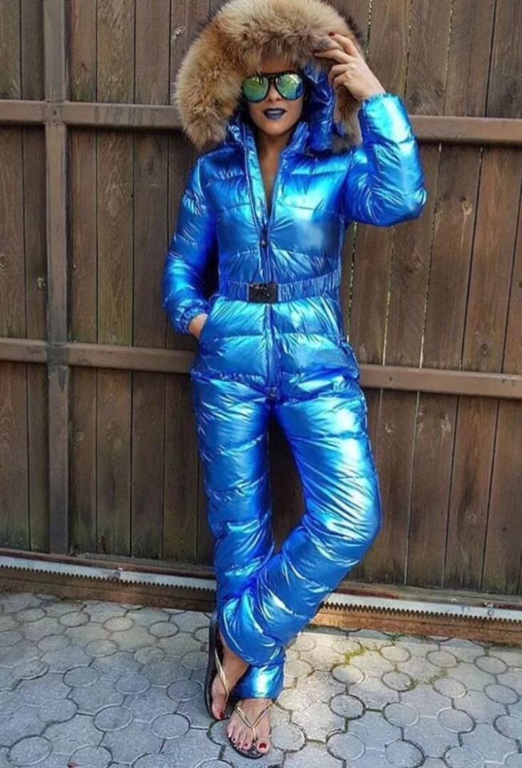 2019 nouveaux hiver épais combinaison ski alpiniste femmes hiver femme capuche jumpsuit mode vêtements en duvet manteau