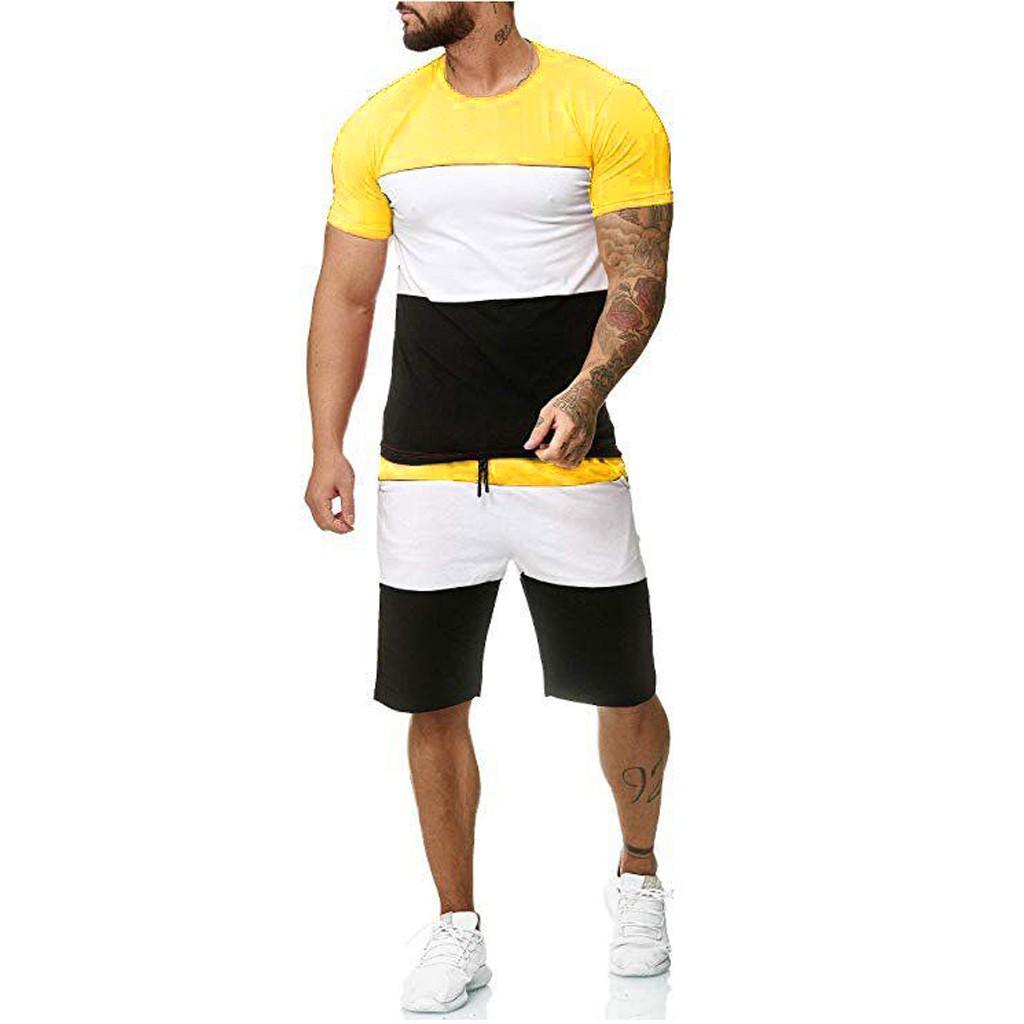 İki adet Erkek Hip Hop Tişört Şort Casual Eşofman Takımı Erkekler Eşofman Moda Marka Patchwork Spor Erkek 2.18 ayarlar