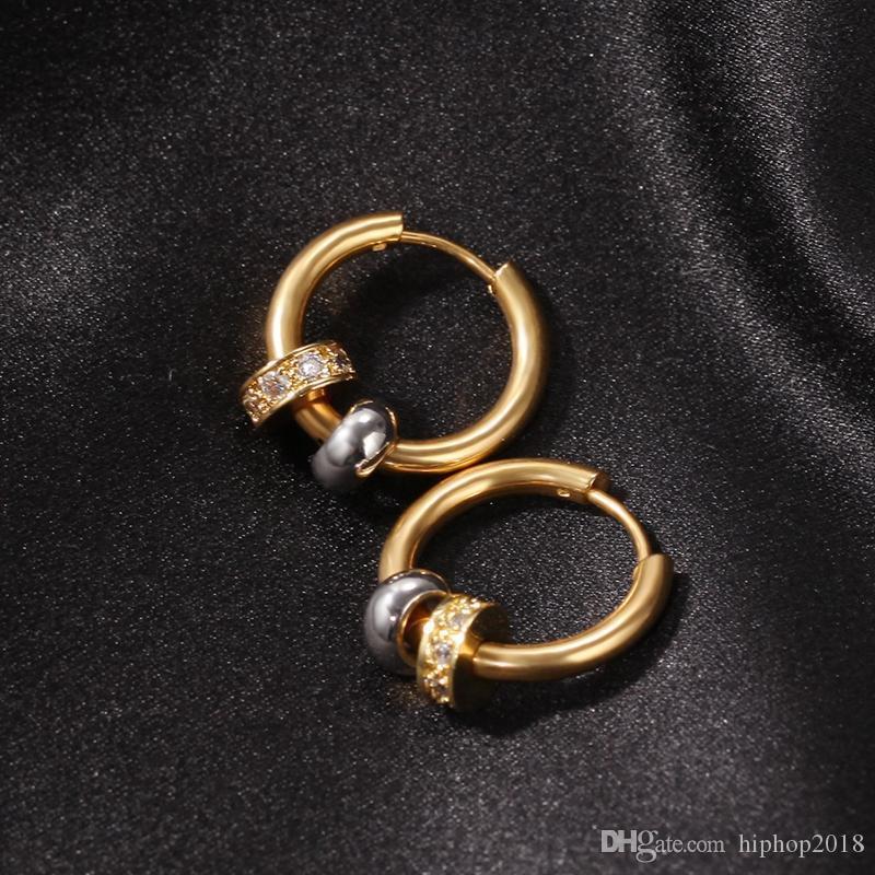 Para hombre Hip Hop joyería pendientes del aro de oro de las mujeres plateado oído del anillo de la vendimia pendientes del aro con el diamante
