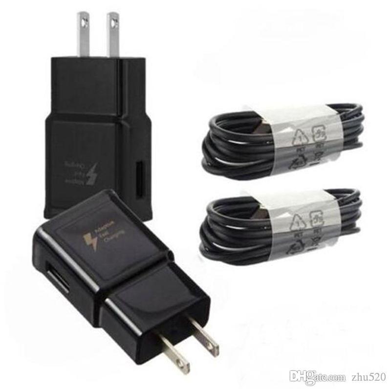 Samsung S8 S9 S10 için Hızlı Şarj Hızlı Şarj USB Duvar Şarj Adaptörü + Hızlı 1.2M S8 C Tipi USB Kablosu Seyahat adaptörü