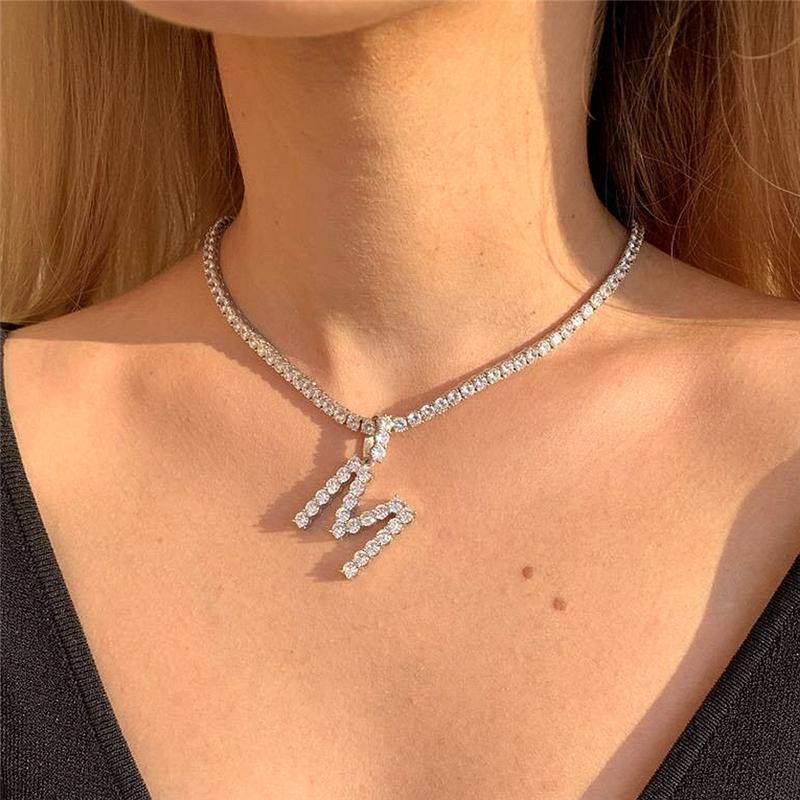 Custom Name Initial Letters Halskette Silber Iced Out Kette Personalisierte Frauen Mädchen Strass 26 Alphabete Anhänger Hip Hop-Hals Schmuck