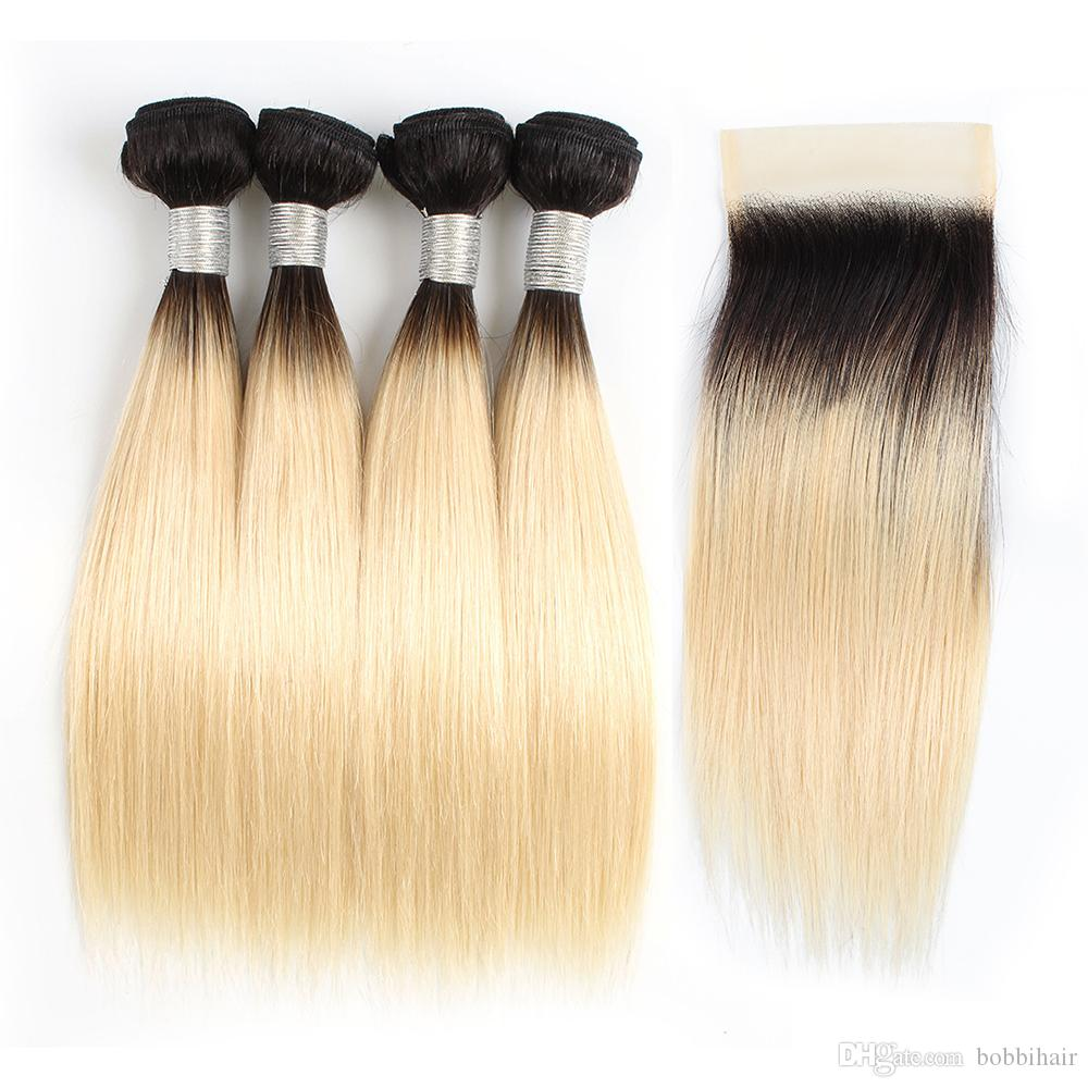 Ombre Blonde Straight Hair Bundles With Closure 1B 613 Dark Roots 50g/Bundle 10-12 Inch 4 Bundles Brazilian Remy Human Hair Extensions