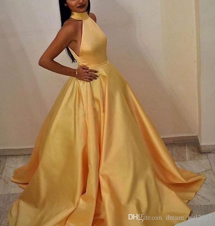 Elegant Robe De Soiree Muslim Women A-Line Halter Floor Length Long Yellow Evening Dresses with Pockets Sexy Satin Prom Gowns