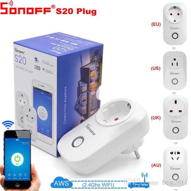 SONOFF S20 Smart Wifi Power Socket EU Plug Outlet 110V 220V Timer Remote Control Wireless Light Switch For Alexa Google Home