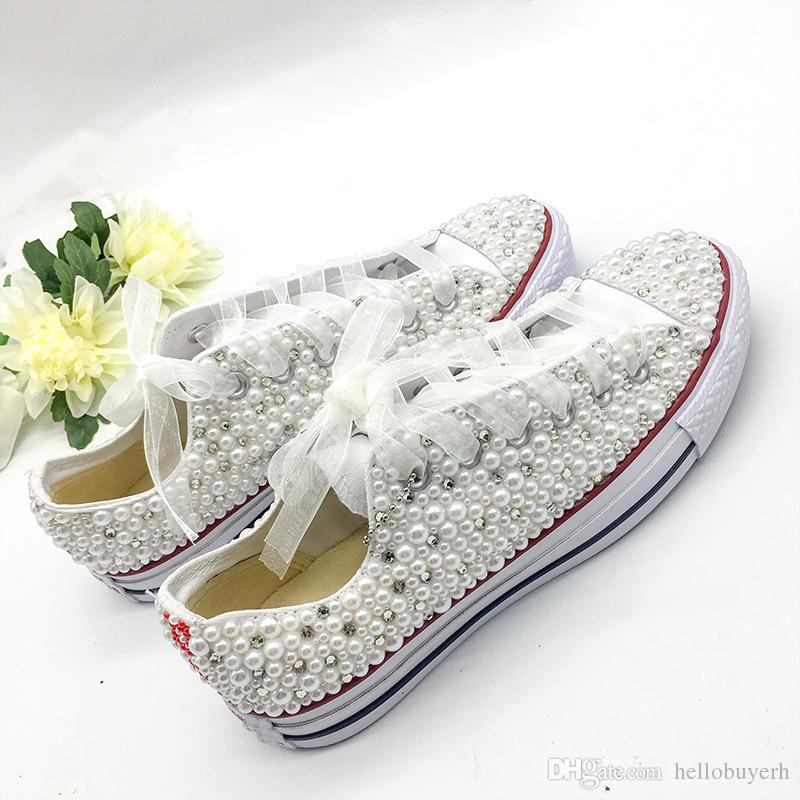 Downton Handmade Crystals Pearls Wedding Shoes Sneakers Bridal flat Shoes Canvas plimsoll bridesmaid Sneaker shoes size 34-44