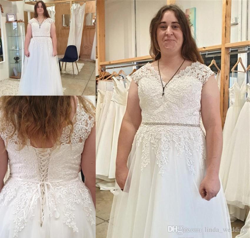 Boho Appliqued Wedding Dresses 2019 A Line Cap Sleeve Summer Country Garden Formal Bride Bridal Gown Custom Made Plus Size