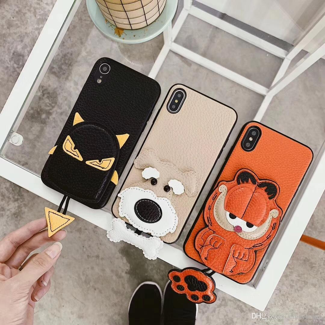 Fashion Luxury Designer Leather Garfield Dog case For iphone XR Case For iphone 11 Pro Max For iphone X XR Xs Max 6 7 8 Plus Small pendant