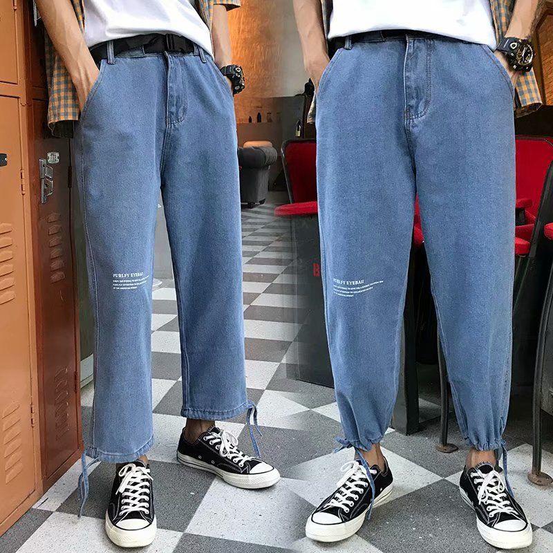 Compre 2020 Comercio Al Por Mayor De Moda Los Pantalones Vaqueros Rectos De Los Pantalones Sueltos De Moda Salvaje De Los Hombres Casuales Juveniles Pantalones De Mezclilla Azul Claro Cordon Ocasional Rayo