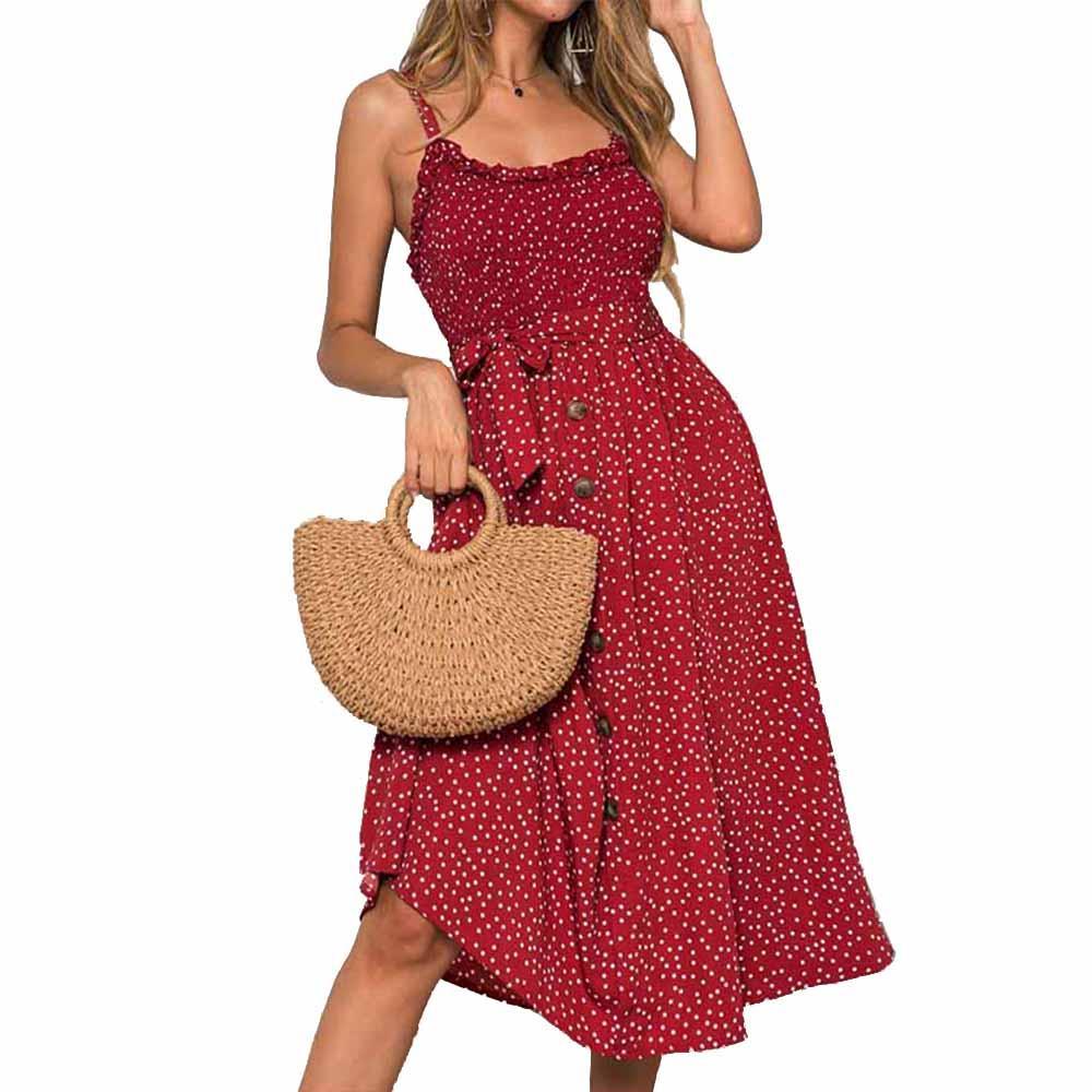 Sexy Sommer-Kleid-Frauen-Bogen-Knopf Ärmel Spaghetti-Bügel lose gefaltete Polka lässig dot langer Strand Backless Vestidos 2020
