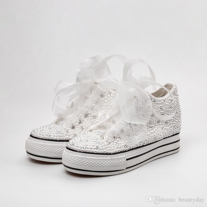 Ülke Düğün Ayakkabı Kadınlar El Yapımı Kristaller İnciler Sneakers Gelin düz Ayakkabı Tuval plimsoll nedime Sneaker ayakkabı Custom Made Renk
