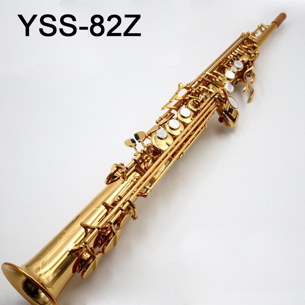 أعلى اليابان العلامة التجارية S-82Z B نغمة سوبرانو الساكسفون الذهب مطلي الذهب مفتاح المهنية ساكس الناطقة بلسان الحال مع واكسسوارات