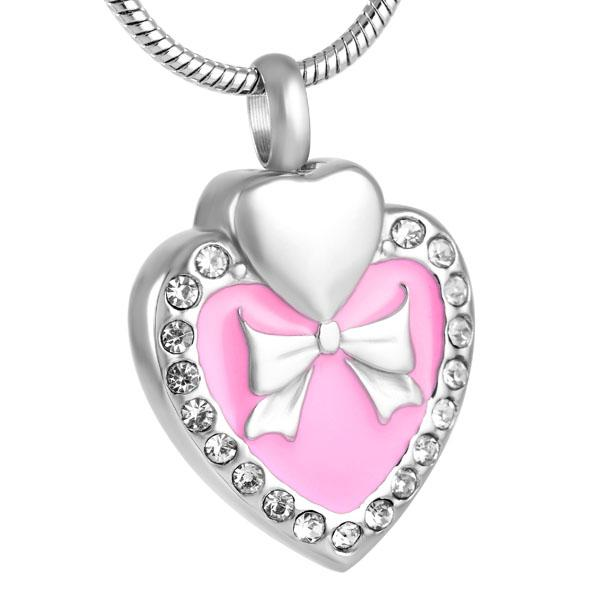 Z123 pink heart-shaped diamond inlaid stainless steel cremation commemorative urn Necklace Pendant commemorative ashes + funnel low price