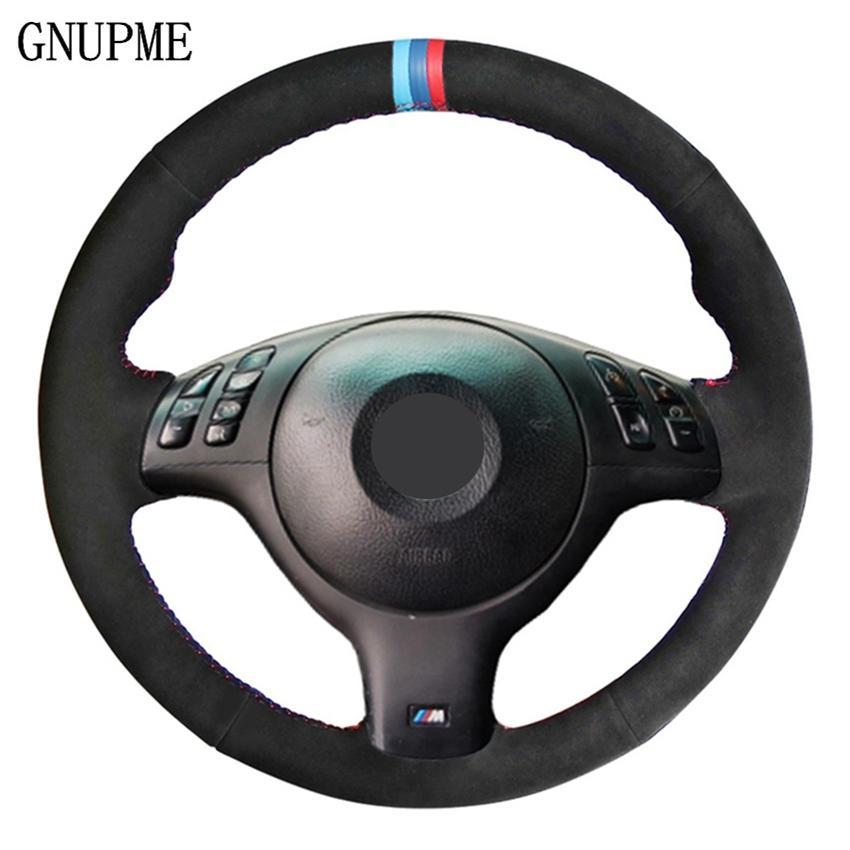 أسود من جلد الغزال جلد DIY مخيط اليد لتوجيه السيارات تغطية عجلة القيادة لسيارات BMW E46 E39 330I 540i 525i 530I 330CI M3 2001 2002 2003