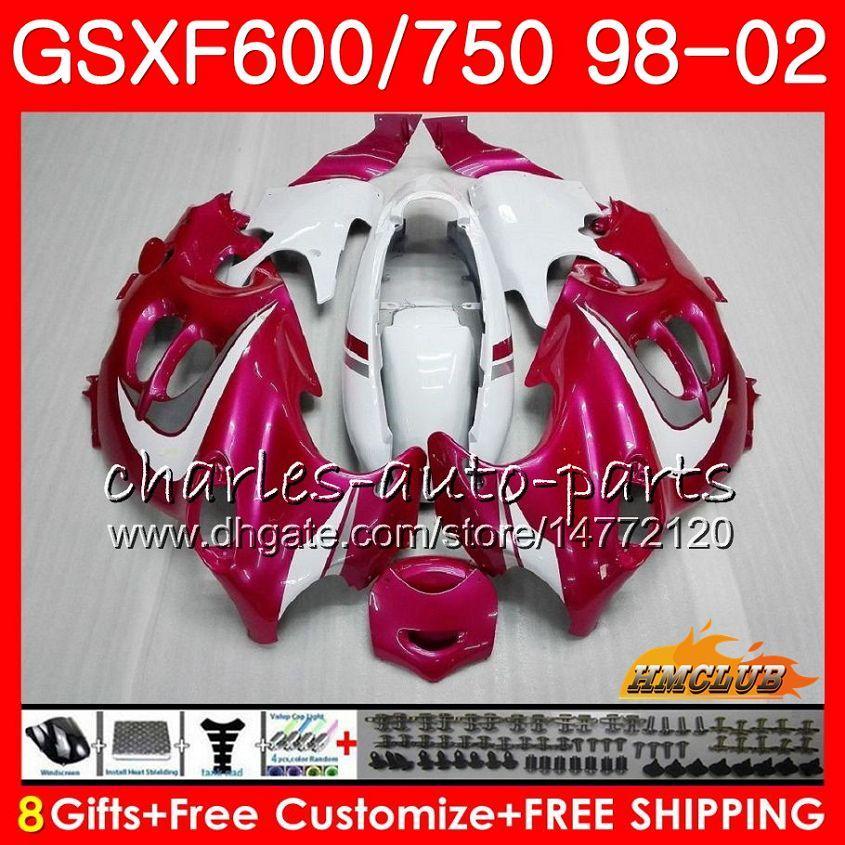 Suzuki katana gsx600f gsxf750 1998 1999 2000 2001 2002 2HC.45 GSXF 750 600 GSX750F 로즈 화이트 GSXF600 98 99 00 01 02 페어링 키트