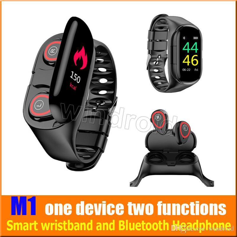 M1 TWS Bluetooth doppio auricolare AI intelligente del braccialetto della vigilanza unico dispositivo due funzioni smart Wristband con cardiofrequenzimetro per Sport Wristband