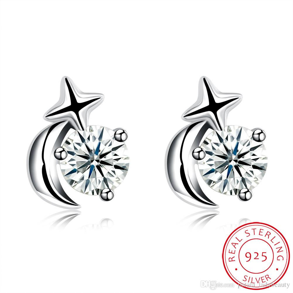 Zircon Dormeuses Motif Étoile De Lune Mosaïque Blanche Zircon Boucle D'oreille Accessoires À La Mode Petites Dames Frais D'anniversaire De Bal Cadeaux POTALA089