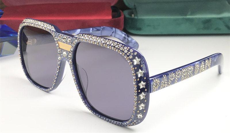 Atacado-Designer 0427 óculos de sol para as mulheres com diamante Pedras design quadrado 0427S óculos de armação Top Quality eyewear UV400 Proteção