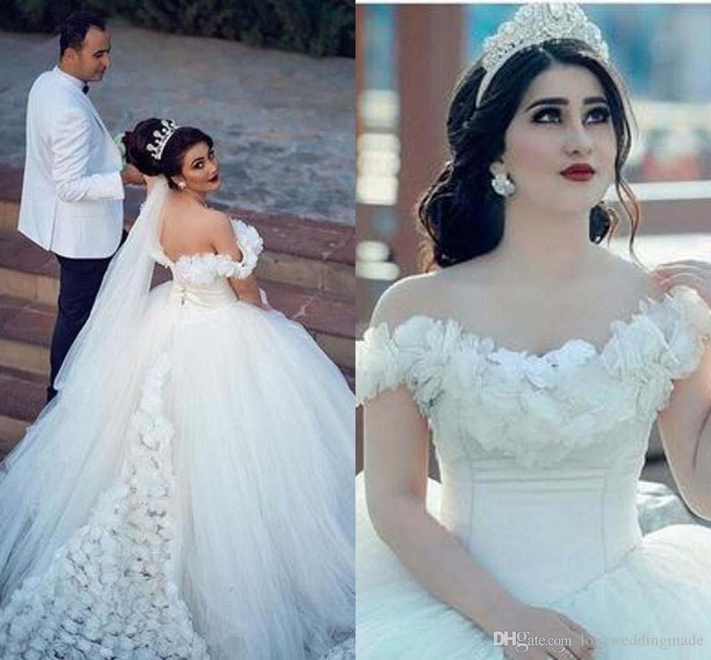 Muhteşem Balo Gelinlik Ile Handflower Kat Uzunluk Geri LAce Up Custom Made Vestido De Novia Dubai Arapça Weding Elbiseler