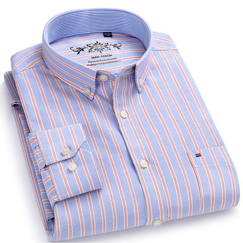 Men's Long Sleeve Plaid/striped Oxford Dress Shirt Single Patch Pocket With Box-pleated Back Yoke Regular-fit Button Down Shirts MX190720