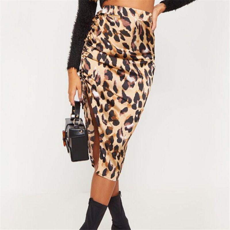 Женщины высокой талией юбка дамы леопардовый Bodycon карандаш Юбки Side Split Узелок Женщины Юбка женская Юбки Женский Wear
