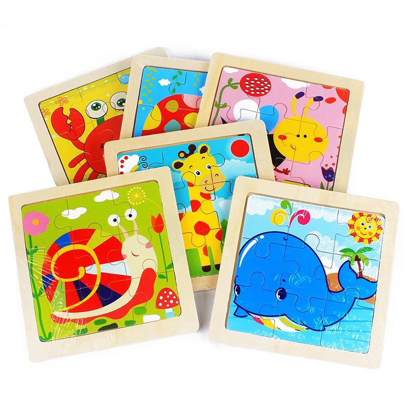 어린이 장난감 나무 퍼즐 작은 크기 11 * 11cm 나무 3D 퍼즐 퍼즐 어린이 만화 동물 / 교통 퍼즐 교육 장난감