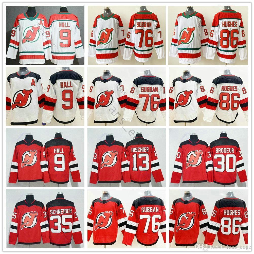 2021 New Jersey Devils Hokey 86 Jack Hughes 76 PK Subban 35 Cory Schneider 13 Nico Hischier 30 Martin Brodeur 9 Taylor Salonu Dikişli Jersey