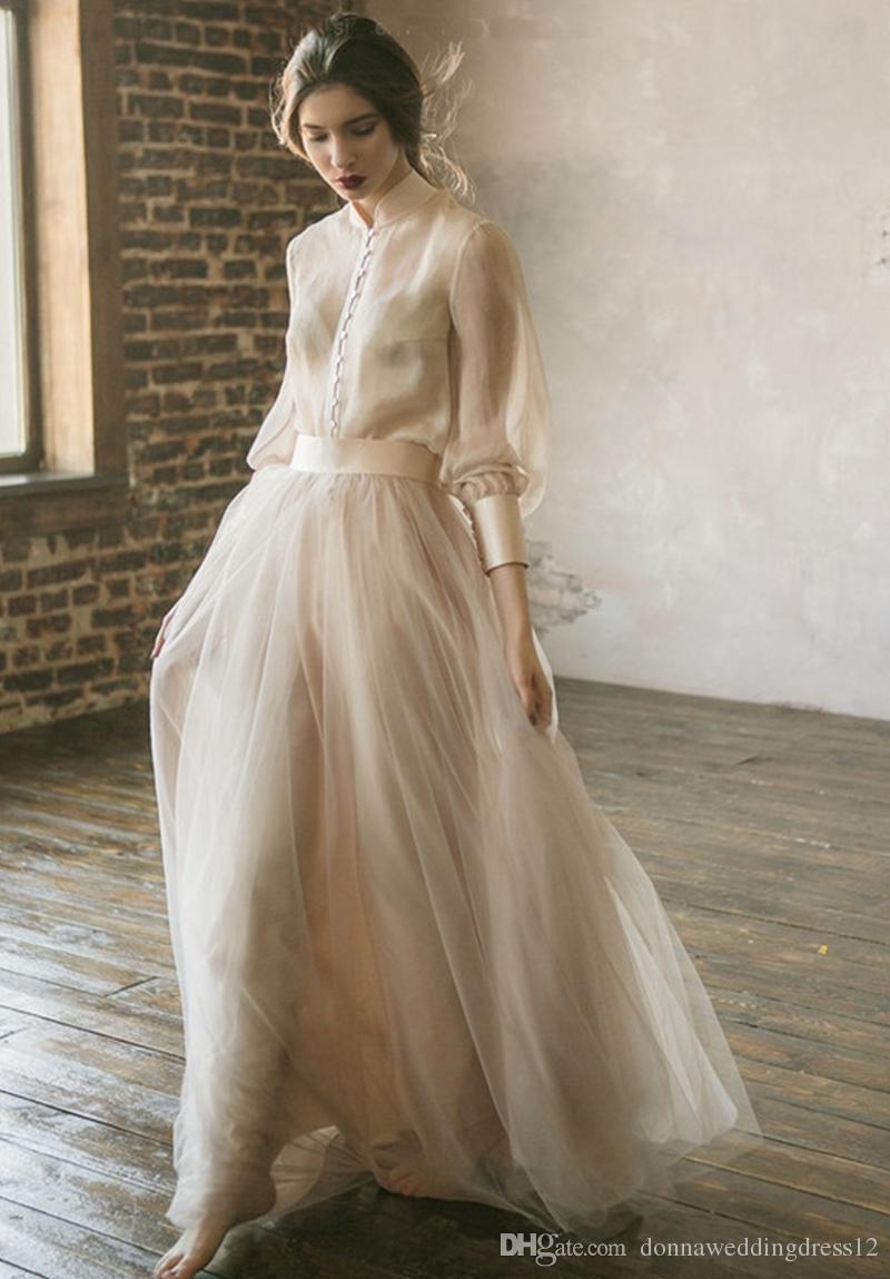 Discount Vestidos De Noiva Boho Wedding Dress Long Sleeves A Line Beige Tulle Princess Beach Bride Dress Two Pieces Wedding Gown 2019 New Christian