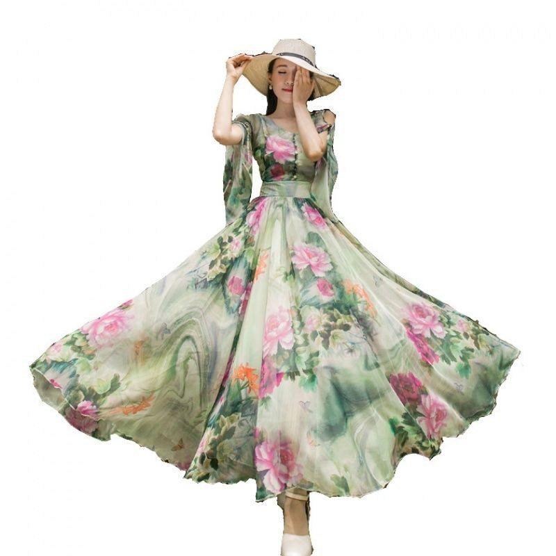 نحيل اللباس 2019 الطباعة فستان من الشيفون المرأة فستان طويل الأزهار الشاطئ