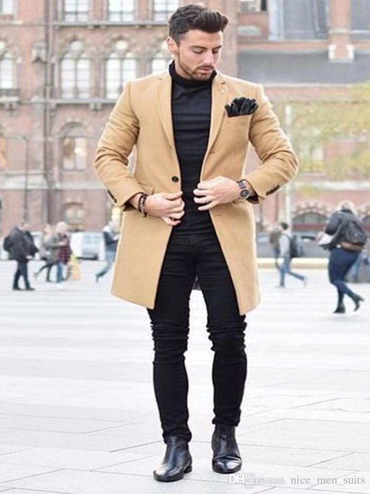 Ultimi Cappotti Pantaloni Disegni Inverno Khaki Tweed Jacket Uomo lungo Cappotto Slim Fit Uomo Blazer Prom Business Uomo Suit Coat Only Jacket