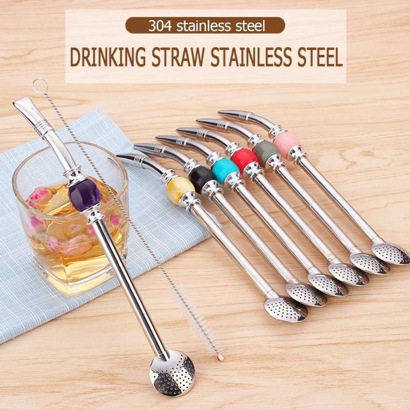 Нержавеющая сталь питьевой соломинки ложка соломы Аргентине матэ с кисти 7 цвета аксессуары для бара