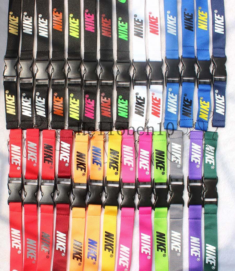 새로운! 100pcs 스포츠 의류 로고 매는 밧줄 ID 배지 키 체인 홀더 넥 스트랩 분리형 Multicolor 무료 배송