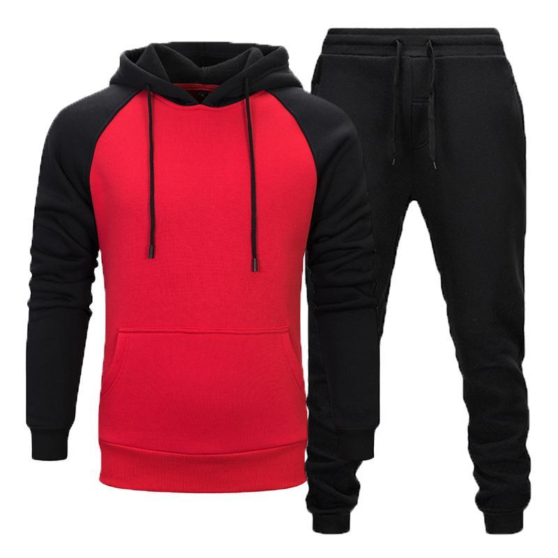 2020 New Hot Moda Inverno Men térmica Sportswear Define lã grossa faixa capuz Suit Hoodie + Training Pants Suit Men set