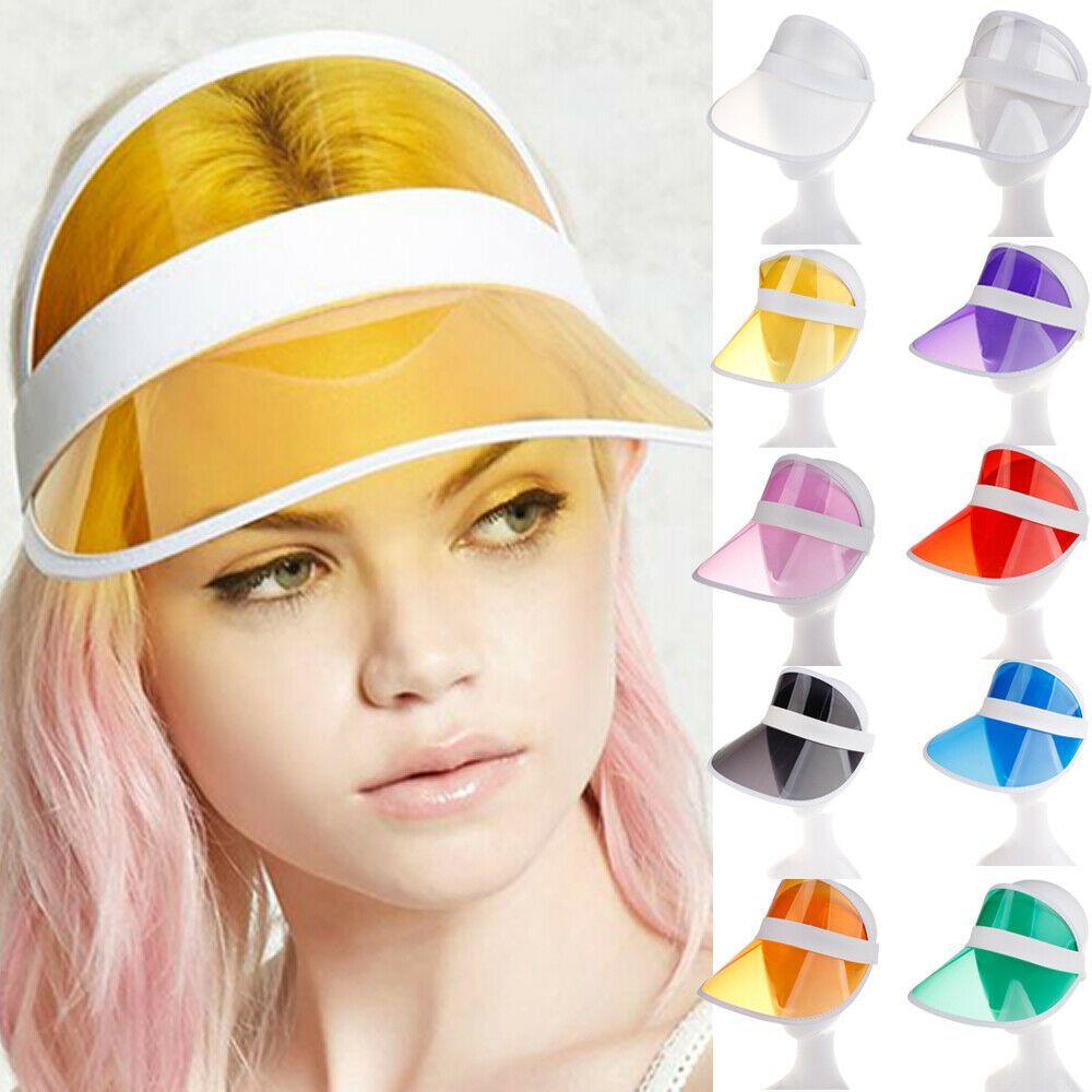 PVC الصيف قبعة الشمس قناع حزب عارضة قبعة بلاستيكية واضحة الكبار قبعة الشمس في الهواء الطلق الرياضة قبعات النساء