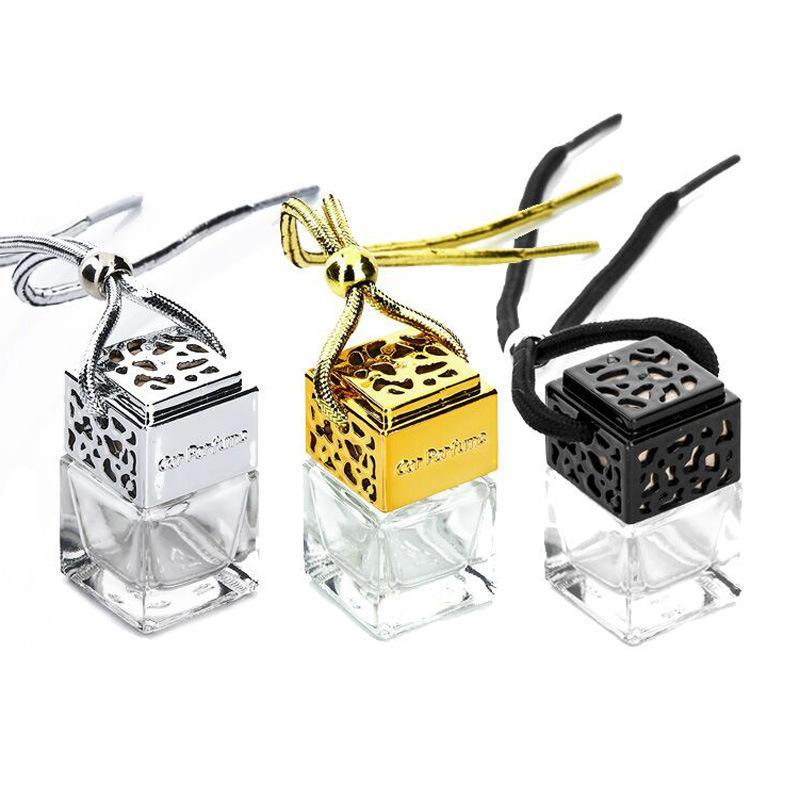 profumo Cube Hanging bottiglia di profumo auto retrovisore Ornamento Deodorante per gli oli essenziali diffusore di profumo vuota GGA1131 bottiglia di vetro