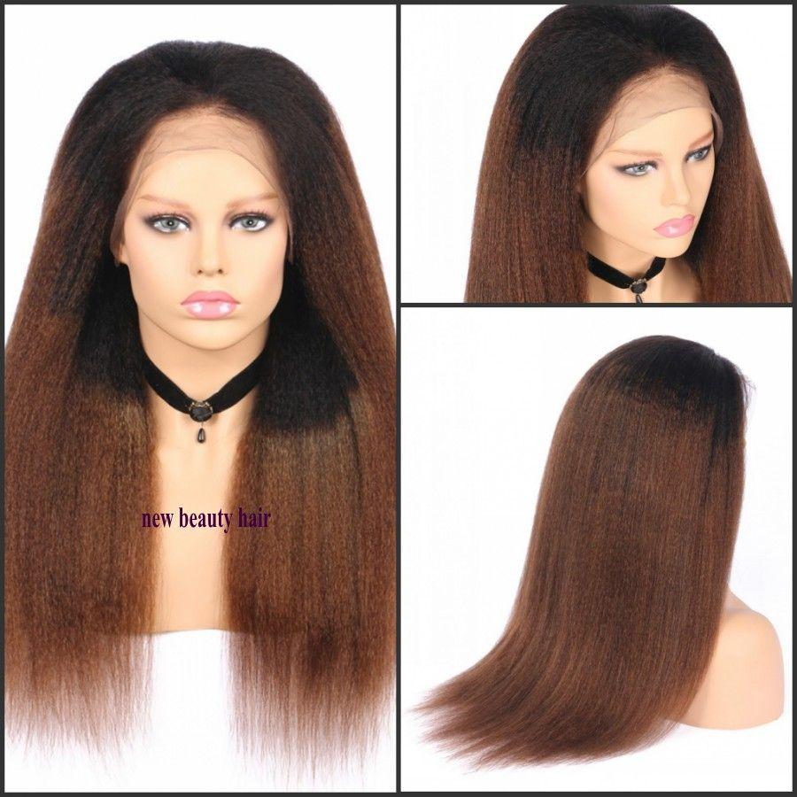 Ombre Farbe Braun Yaki lange gerade Perücken Dichte 180% Perücke Pre Zupforchester Haar Lace Front Perücken